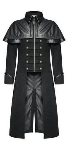 Mens Black Long Military Gothic Jacket with faux Leather Shoulder,Mens Gothic style long coat Mens Long Jacket, Gothic Jackets, Metal T Shirts, Military Fashion, Military Style, Long Jackets, Gentleman Style, Gothic Fashion, Cool Outfits