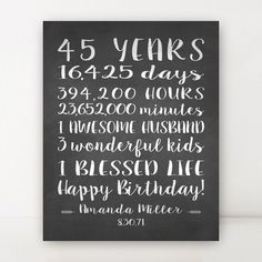 45th BIRTHDAY GIFT Canvas 45 Year Birthday Sign Personalized Gift For Wife Husband Friend Chal