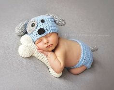 Newborn puppy hat, baby boy puppy hat, crochet puppy hat, newborn photo prop, baby boy clothes, coming home outfit, newborn boy hat, blue