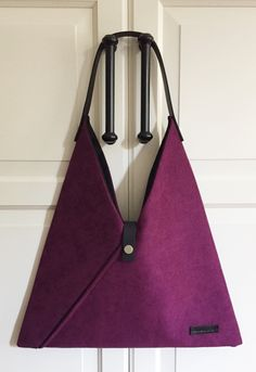 Purple Hobo Bag with leather strap Shoulder Damson Color Japanese Kimono Triangle Bag for women Everyday Purse Gift for her Diy Bags Purses, Diy Purse, Cheap Handbags, Cheap Bags, Popular Handbags, Hobo Bag Patterns, Triangle Bag, Diy Sac, Simple Bags