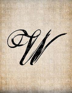 Antique Letter W Script Monogram Digital by AntiqueGraphique, $1.00