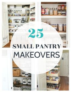 Find amazing ideas to organize your small pantry with these 25 small pantry makeovers. There are pantry ideas for all types of spaces. Small Pantry Cabinet, Small Pantry Closet, Small Pantry Organization, Built In Pantry, Pantry Shelving, Organization Ideas, Storage Ideas, Organizing, Clothing Organization