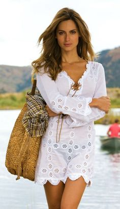 Eyelet swimsuit cover up! Too cute.