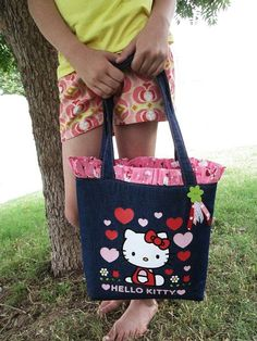 Hello Kitty Denim Tote with Pink Ruffle