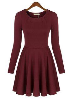 Red Round Neck Long Sleeve Slim Pleated Dress - Sheinside.com