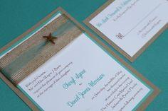 Beach Wedding Invitation, Seaside, Elegant Destination Wedding Invite with Starfish. $5.75, via Etsy.