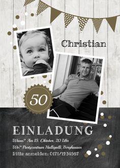 Trendy Geburtstagseinladung als Fotokarte in Holz-Look mit Schultafel und Girlande in Olivgrün. #EinladungGeburtstag.de