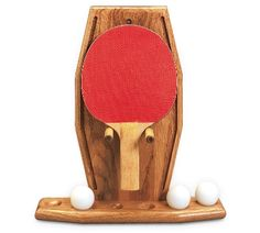 Oak Table Tennis Rack. Holds up to four paddles and six table tennis balls and mounts onto wall.