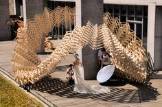 O-STRIP Pavilion is one of the projects in Tongji University's Fabrication workshop that aims to bring back the liveliness of the place. The site is. Parametric Architecture, Wooden Architecture, Pavilion Architecture, Architecture Design, Concept Models Architecture, Shelter Design, Dark Fantasy Art, Urban Art, Skyscraper