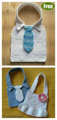 This Manly Baby Bib Free Knitting Pattern is a perfect clothing accessory that is cute while protecting against food stains. Baby Boy Knitting Patterns Free, Baby Clothes Patterns, Kids Patterns, Free Knitting, Baby Knitting, Crochet Baby Bibs, Bib Pattern, Knitted Baby Clothes, Knits