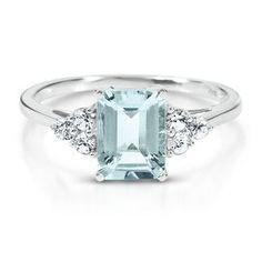 Octagonal Cut Aquamarine Ring - Colored Gem Rings - Rings - Jewelry - Helzberg Diamonds