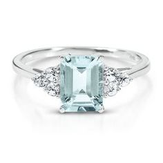 Octagonal Cut Aquamarine Ring - Colored Gem Rings - Rings - Jewelry - Helzberg Diamonds