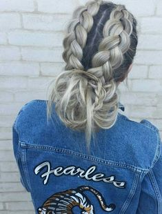 Cute Updo Double Blonde French Braid with Bun