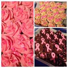 Finished cupcakes for my NZ Breast Cancer Foundation fundraiser afternoon tea! Vanilla cupcakes with Rose flavoured icing. White Chocolate cupcakes with Bailey's icing. Chocolate cupcakes with Chocolate Ganache icing. May 2014