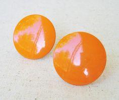 Orange Clip On Earrings Vintage Earrings Round by RadiantDays