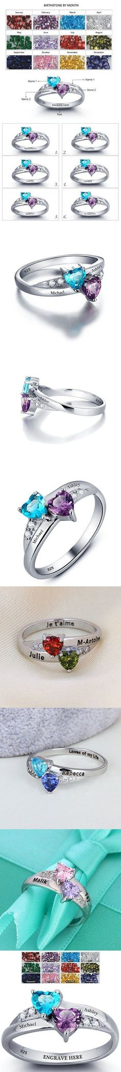 Promise Ring For Her Couples 2 Heart Birthstones 2 Names and 1 Engraving Customized and Personalized Size 8