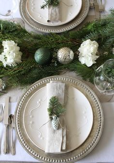 Gorgeous Holiday Tablescapes with Silver and Greens