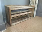 Wood Pallets Handmade Reclaimed Pallet Wood Shoe Rack by ChewtonWoodDesign Landscaping On A Budget A Wood Shoe Rack, Diy Shoe Rack, Shoe Storage, Diy Pallet Projects, Wood Projects, Wood Pallets, Pallet Wood, Pallet Art, Small Pallet