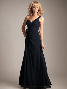 One shoulder A-line with ruffle embellishment chiffon bridesmaid dress... Would be a great ball dress!!