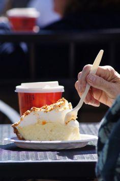 A market-goer tucks into a dessert at the Saskatoon Farmers Market in Canada.