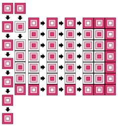 per l'assemblaggio di un lavoro a piastrelle.  Tutorial e schema su www.gomitolorosso.it