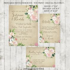vintage wedding invitation Printable wedding by OurFriendsEclectic