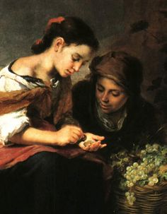 The Little Fruit-Seller - 1670 - Baroque Oil Painting on Canvas, 113 x 149 cm, Bartolome Esteban Murillo - 1618 - Alte Pinakothek, Munich, Germany. Spanish Painters, Spanish Artists, Classic Paintings, Beautiful Paintings, Oil Painting Gallery, Art Gallery, Oil Paintings, Time Painting, Painting & Drawing