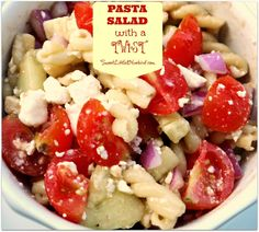 Pasta Salad with a Twist - Gemelli pasta, feta, tomato, cucumber, red onion topped with homemade balsamic dressing! Great combination of flavors! So simple. So good. Great topped with grilled chicken for a meal! Perfect dish to share at barbecues, picnics, parties, large gatherings!