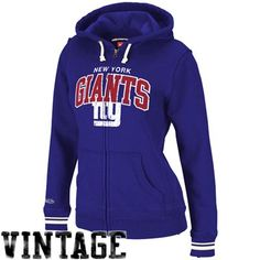 455489a92 Mitchell   Ness New York Giants Ladies Royal Blue Arch Rivals Full Zip Hoodie  Sweatshirt Dallas