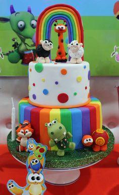 Violeta Glace 's Birthday / Baby TV - Photo Gallery at Catch My Party 2 Birthday Cake, Kids Birthday Themes, 2nd Birthday Parties, Baby Birthday, Bridal Shower Cakes, Baby Shower Cakes, Baby Tv Cake, Fondant Flower Tutorial, Fondant Animals