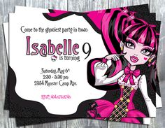 Monster High Birthday Party Printable Invitation-monster high, birthday, invitation, digital invite, party printable, party favors, thank yo...