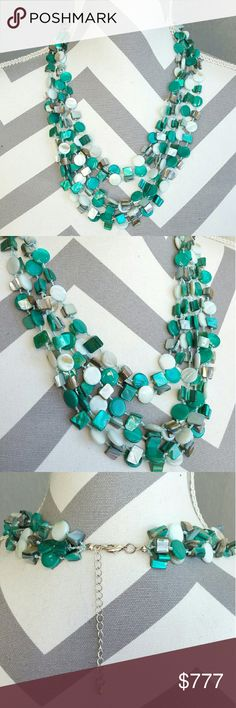 Goregous colored shell multi layered necklace Only 1 available!  This multi layered necklace is stunning, I am loving the teal color!!! Featuring layers of different color shell beads. Add a pop of color to your favorite outfit with this lovely necklace!!  Hook and chain extention on back Jewelry Necklaces