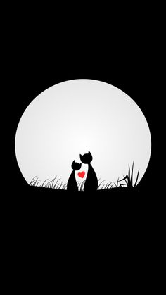 Couple, cats, love, silhouettes, moon, digital art, minimal, 720x1280 wallpaper