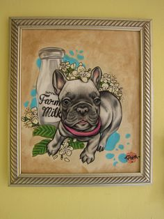 "ORIGINAL drawing ""Early summers morning"" french bulldog"