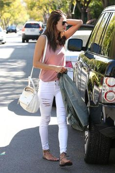 Denim outfit ideas from your favorite celebrities, including Alessandra Ambrosio