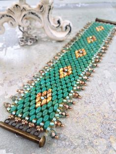 Peyote Stitch Indian Summer Cuff Turquoise by CountryChicCharms