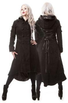 Poizen Industries Midnight Coat - Black 3/4 Length Gothic Coat