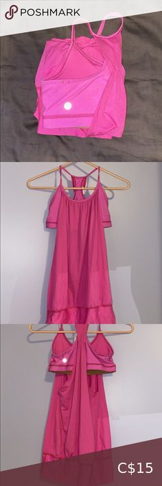 Lululemon Tanktop Lululemon Pink Tanktop. Size 4. Sports bra attached, rest is loose fitting. Fits long. lululemon athletica Tops Tank Tops