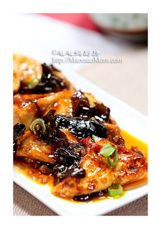 Szechuan/Sichuan Fish Fragrant (YuXiang) Tofu with Wood Ear Mushrooms NOTE: recipe is for about oz. of tofu (about 2 US packs) Tofu Recipes, Vegetable Recipes, Seafood Recipes, Asian Recipes, Vegetarian Recipes, Chinese Home Cooking Recipes, Asian Cooking, Chinese Recipes, Tofu Dishes