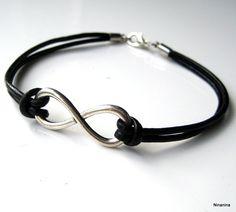 Bracelet infini cuir et métal argenté N3134 : Bijoux pour hommes par ninanina