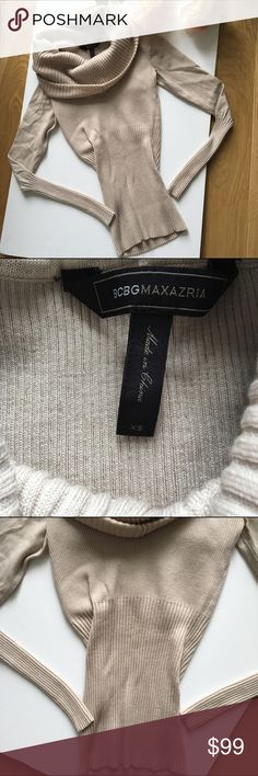 BCBGMAXAZRIA cowl neck ribbed fitted sweater Like new. Only worn once. Beautiful neutral color. And soft fabric. Pretty cowl neck. BCBGMaxAzria Sweaters Cowl & Turtlenecks