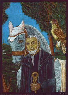 Wisenard il Mago, il suo cavallo Pirkan e il gufo Kidor. Dipinto dell'artista veneziana Fanny Zava.   Wisenard:   «Leggenda… Strane creature voi Uomini. Voi fate, volete, soffrite, create la vostra Storia e poi ne perdete la chiave, e finite per chiamarla leggenda. [La Stagione del Ritorno - Angela Di Bartolo] fantasy epico