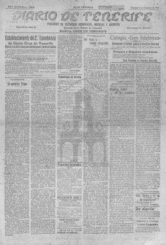 Diario de Tenerife-5 de octubre de 1917.  La crisis económica derivada de la I Guerra Mundial terminaría provocando el cierre a finales de 1917 del que fuera uno de los principales medios de información de la provincia.