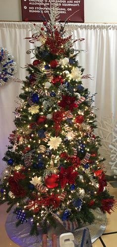 Red White and Blue Christmas tree
