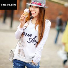 Womens Letter Round Collar Long Sleeve White Tshirt
