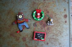 Set of Four Vintage Wooden Christmas Ornaments by vintapod on Etsy