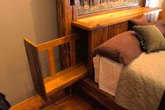 Secret Sliding Headboard Compartment  This headboard has a slide out tray that conceals a secret storage compartment