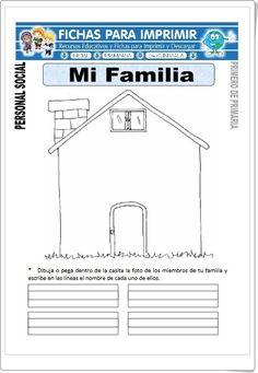 """Mi Familia"" (Fichas de Ciencias Sociales de Primaria) Curriculum, Homeschool, 1st Day, Grade 1, Acting, Spanish, Religion, Teacher, Activities"