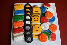 Items similar to LEGO Head LEGO Blocks Tires and Logo 4 dozen mini cookies on Etsy Lego Cookies, Mini Cookies, Cookies For Kids, Cupcake Cookies, Iced Sugar Cookies, Royal Icing Cookies, Lego Birthday Party, 4th Birthday Parties, Lego Head