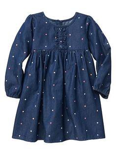 Dot chambray long-sleeve dress